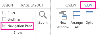 Image showing Navigation Pane checkbox under View