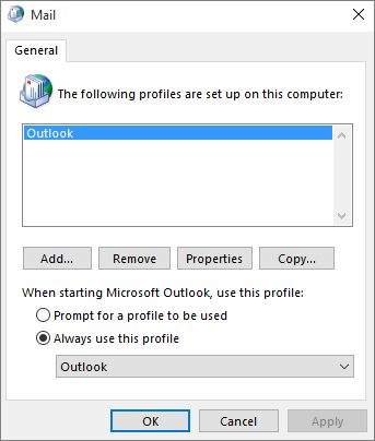 Mail property sheet used to add or remove a profile for your Outlook account