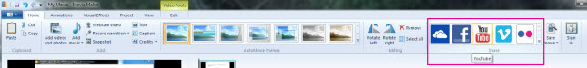In Windows Live Movie Maker, on the Home tab, in the Share group, click YouTube