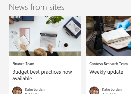SharePoint Office 365 News from sites