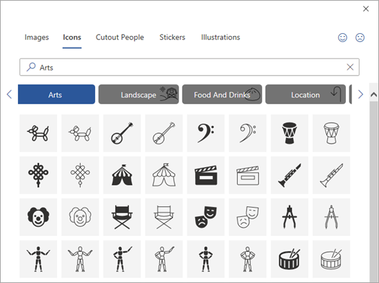 Select an icon to insert.