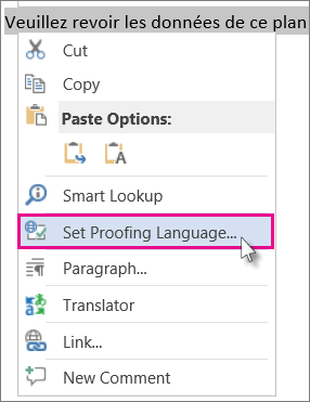 Right-click and click Set Proofing Language