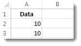 Data in cells A2 and A3 in an Excel worksheet