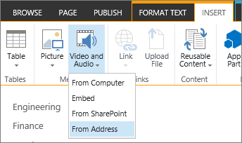 Insert Video menu with Address selected