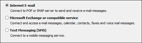 Outlook 2010 choose service for new account