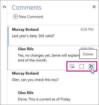 delete a review comment in Word Online