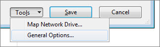 Tools menu on the Save As dialog box