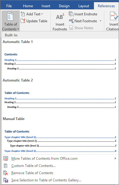 Table of Contents options are shown on the References tab