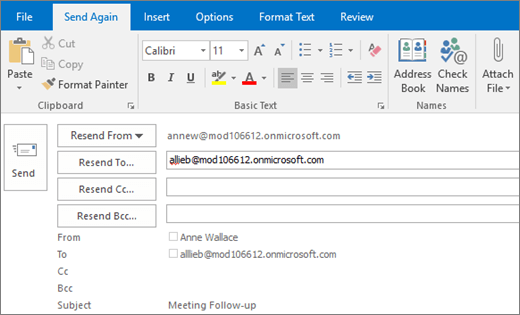 Screenshot shows the Send Again option for an email message. In the Resend to field, the recipient's address has been provided by the AutoComplete feature.