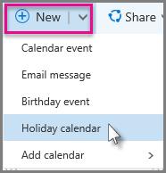 Add a new holiday calendar