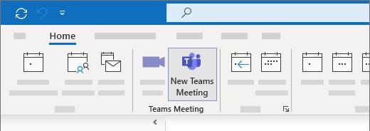 New Teams Meeting selection in Outlook Calendar view