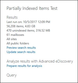 Example of search statistics showing partially indexed items