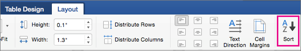 Table Layout tab with the Sort option highlighted.
