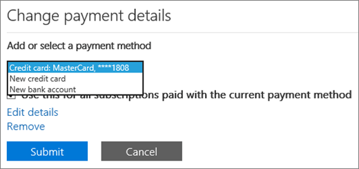 The dropdown menu showing the New credit card and New bank account options.
