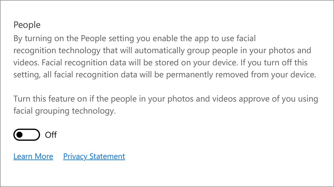 Screenshot of the People setting.