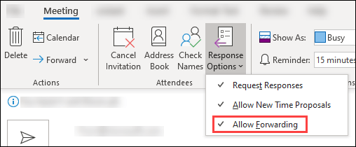 Use meeting toolbar to block forwarding