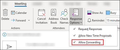 Use meeting toolbar to block forwarding