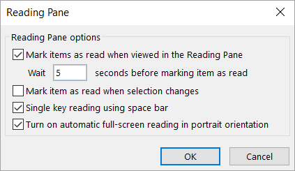 Settings in the Reading Pane dialog box