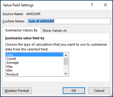 Excel Value Field Settings dialog for Summarize Values By options