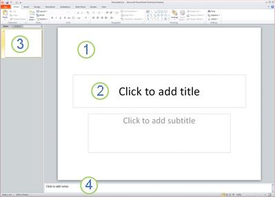 The workspace, or Normal view, in PowerPoint 2010 with four areas labled.