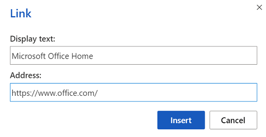 Link insertion dialog box in Word for the web.