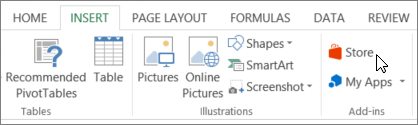 Screenshot of a section of the Insert tab on the Excel ribbon with a cursor pointing to the Store. Select Store to go to the Office Store and look for add-ins for Excel.