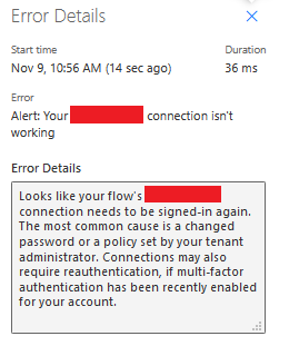 Alert Your Connection Name connection isn't working
