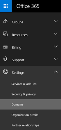 Go to the Domains page in the O365 admin center