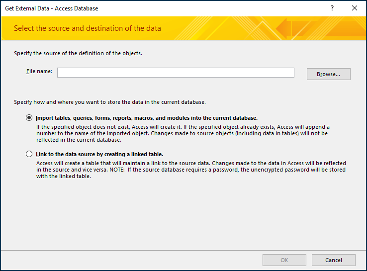 Screenshot of the get External Data - Access Database import wizard