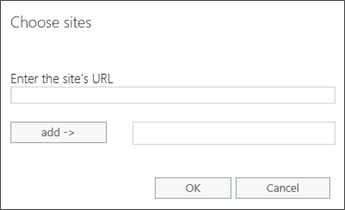 The Choose sites dialog to specify the URL of a site with sensitive information.