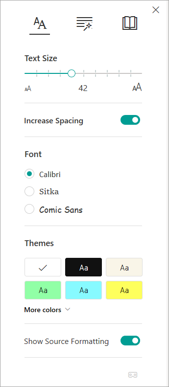 Text options in Immersive Reader.