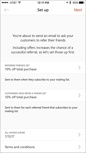 Fill in the offers for your referral in the mobile app