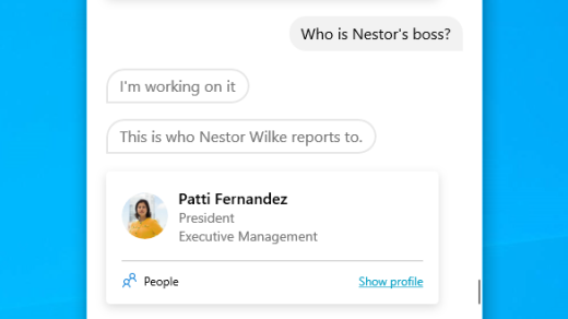Find out a person's manager with Cortana in Windows