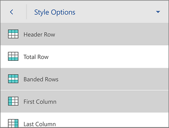Style Options command, with the Header Row selected