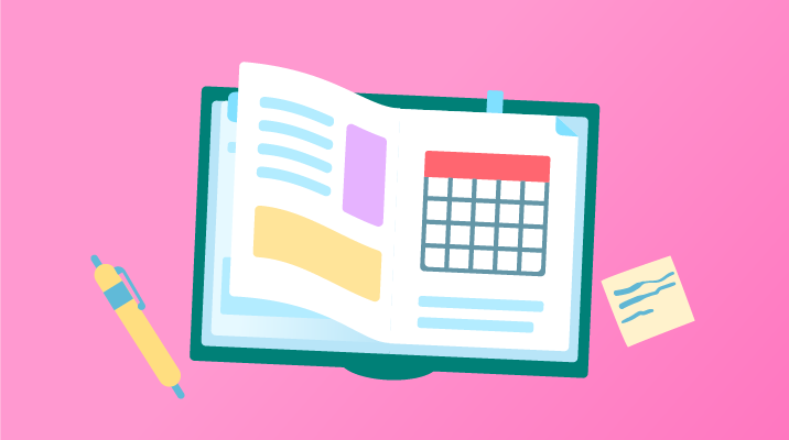 An open book with a calendar