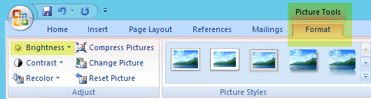 On the Picture Tools Format tab, in the Adjust group, select Brightness