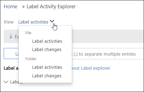 Dropdown menu showing label activities for files and folders