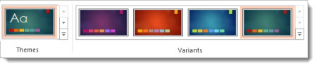 Design tab: themes with variants