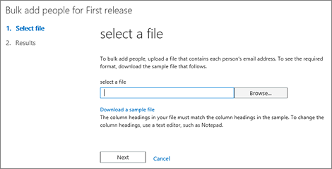 Bulk add users in Office 365 First Release