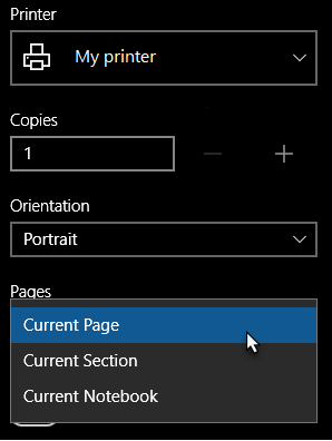 Printer dialog with single page selected