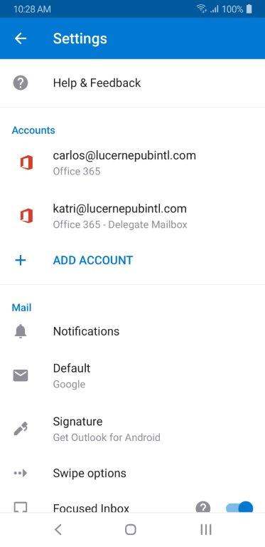 Settings page with delegate account showing