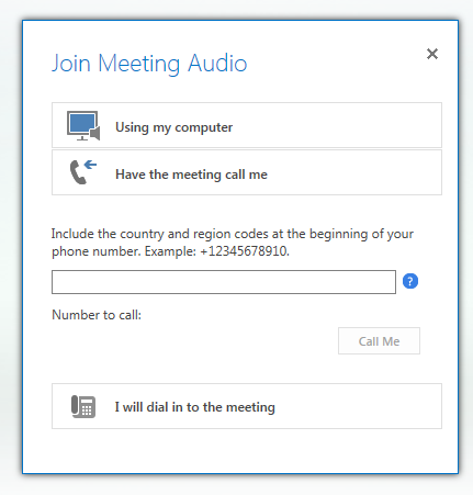 screen shot of the join meeting audio dialog box with the option named have the meeting call me selected