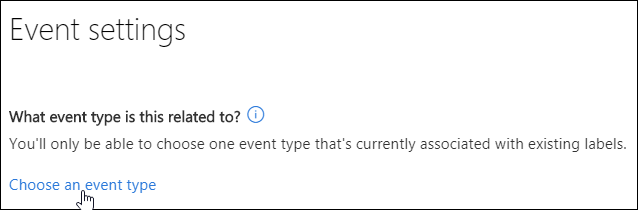 Option in Event settings to choose an event type