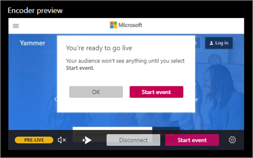 Screen showing that you are ready to go live with your event