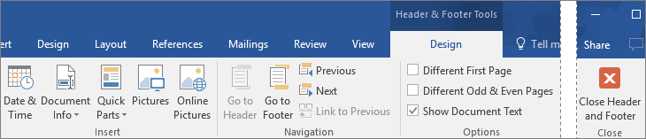 The options available on the Design tab under Header & Footer Tools are shown.