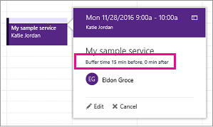 Buffer time is included on customer's appointment reminder