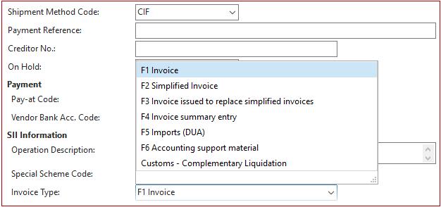 New purchase invoice type Customs Completementary Liquidation