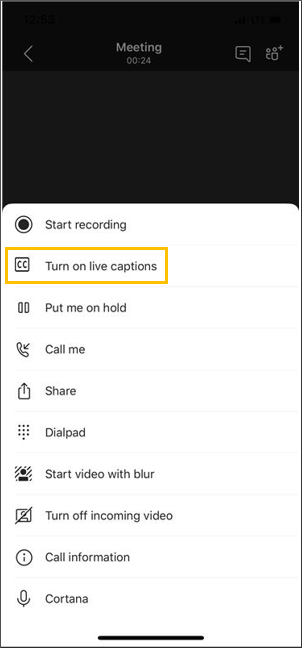 Button to turn on live captions
