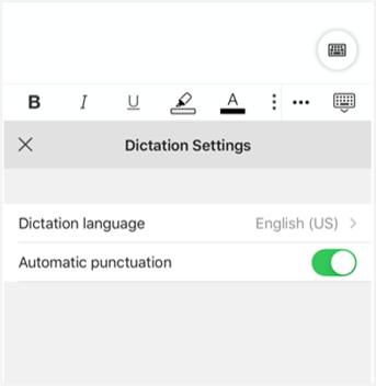 Dictation for iPhone Settings expanded.