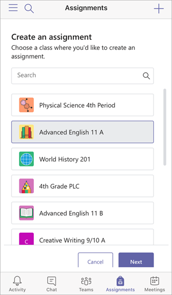 Create assignment and choose classes